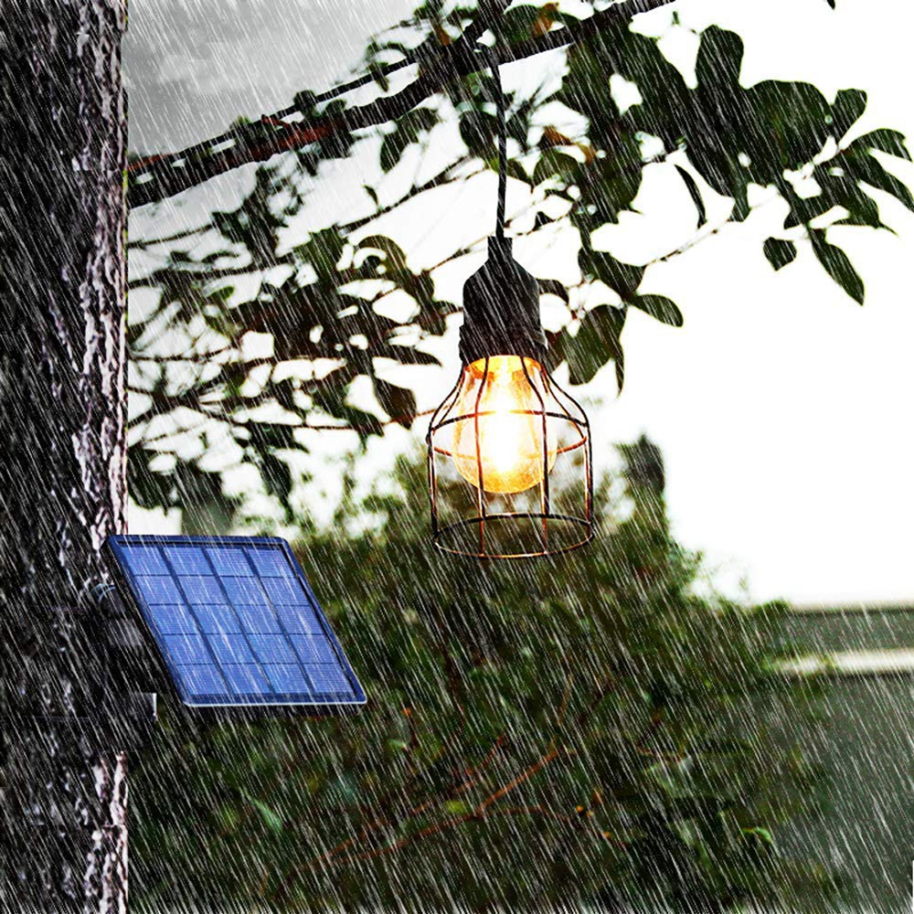 Vintage Hanging Metal Cage Outdoor Solar Pendant Light with E27 Bulb Waterproof Garden Yard Home