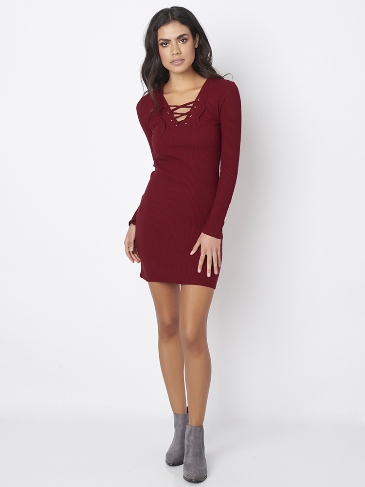 Sexy Women Bandage Bodycon Long Sleeve V-neck Knitted Dresses