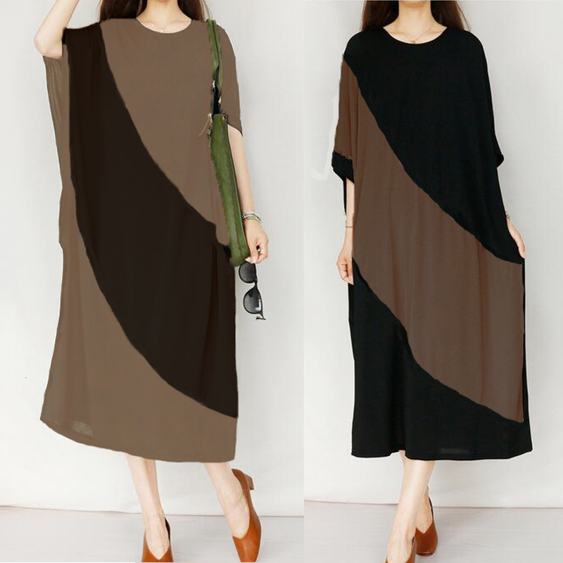 Women Loose Batwing Color Block Kaftan Mid Long Dress