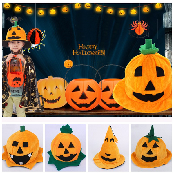 Halloween Pumpkin Hat Masquerade Costume Party Fancy Decor for Kids Boys Girl