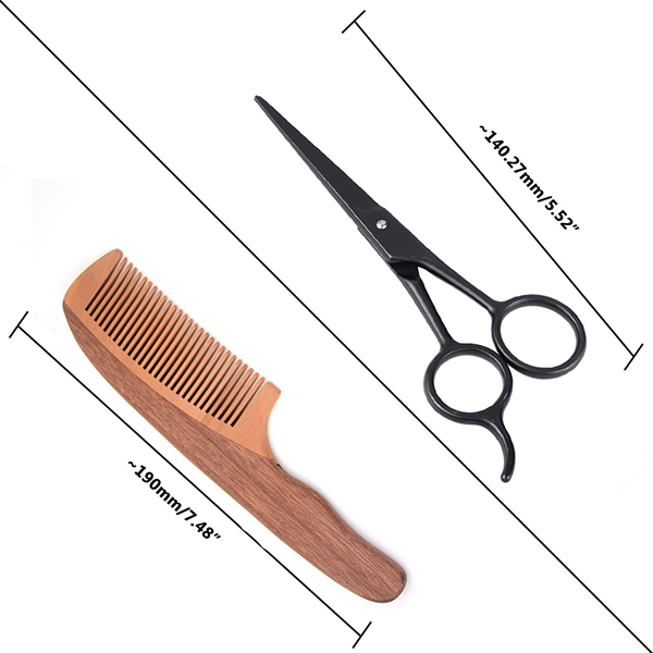 Men Wooden Beard Comb Set