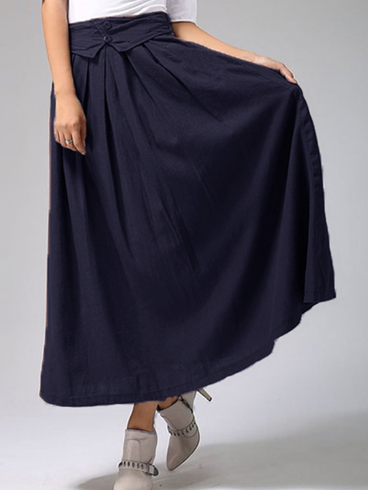 Women High Elastic Waist Cotton Linen Solid Long Maxi Skirt