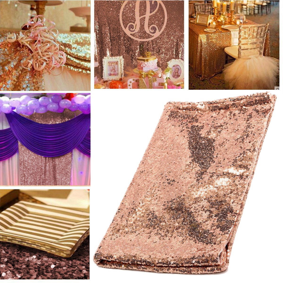 100*150cm Rectangular Rose Gold Sequin Tablecloth Wedding Party Banquet Table Decoration