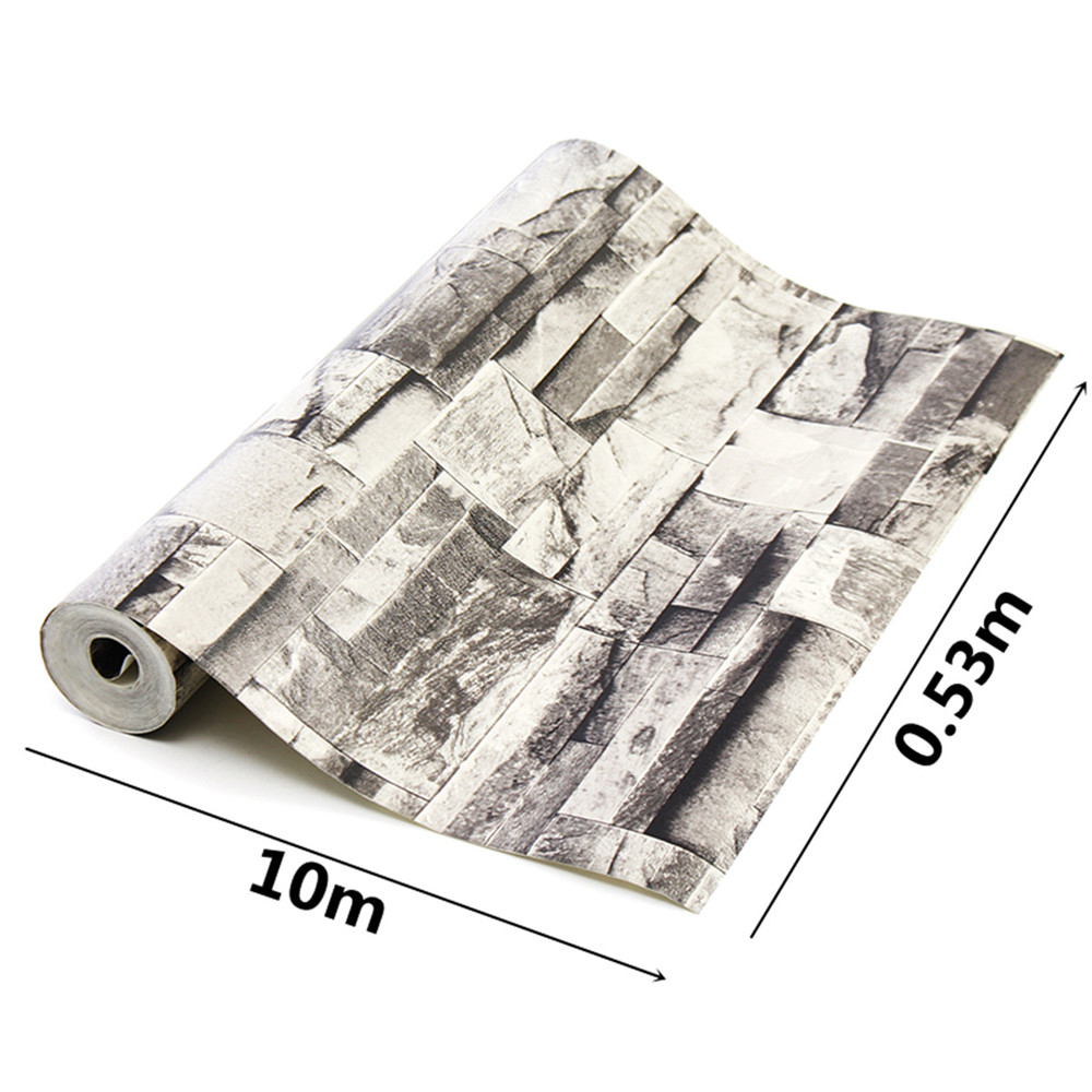 10mx0.53m 3D Realistic Retro Stacked Brick Stone Vinyl Background Wall Paper Grey
