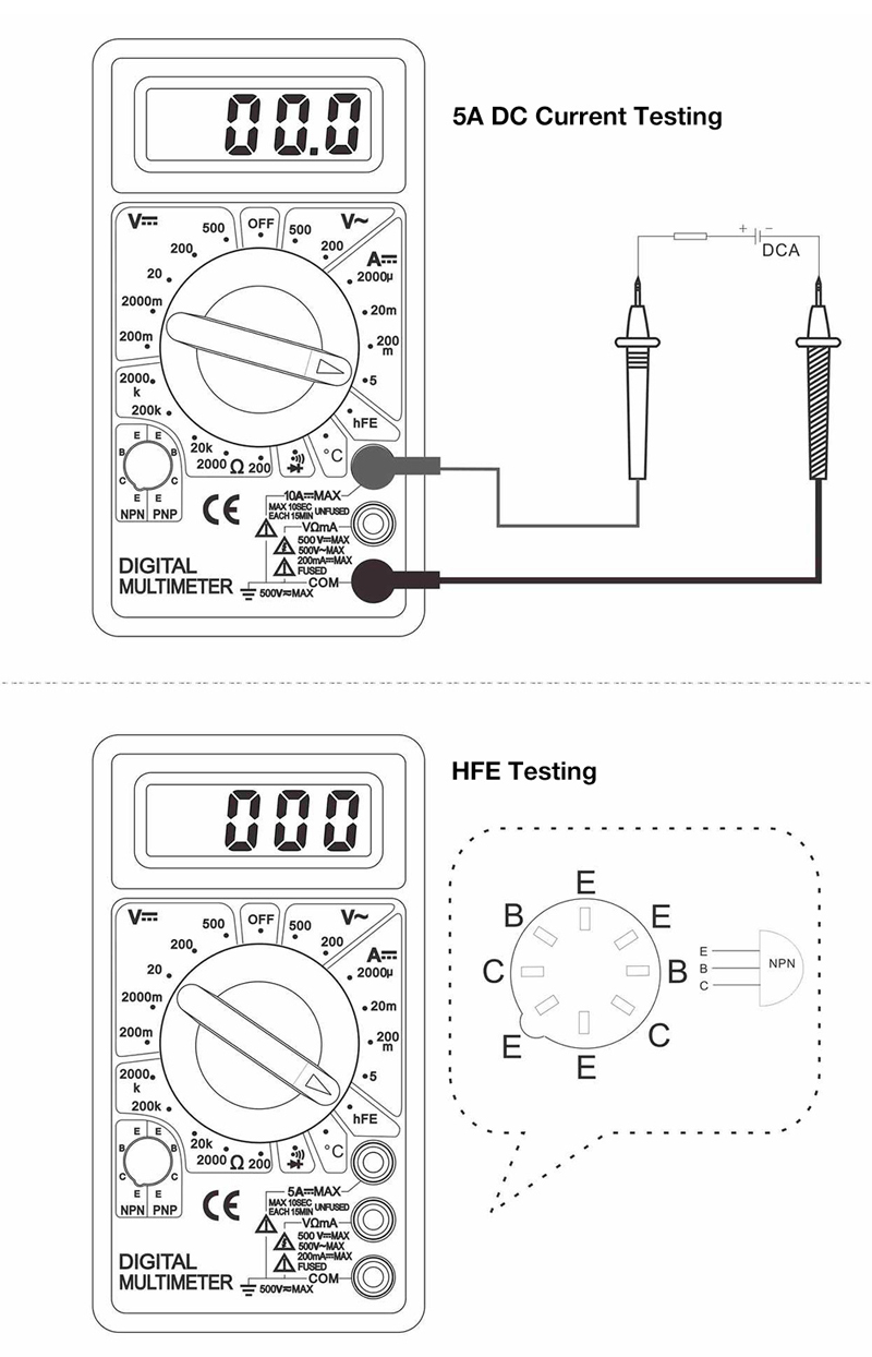 WHDZ DT838 LCD Digital Multimeter AC DC Voltage Current Diode Resistance Temperature Tester