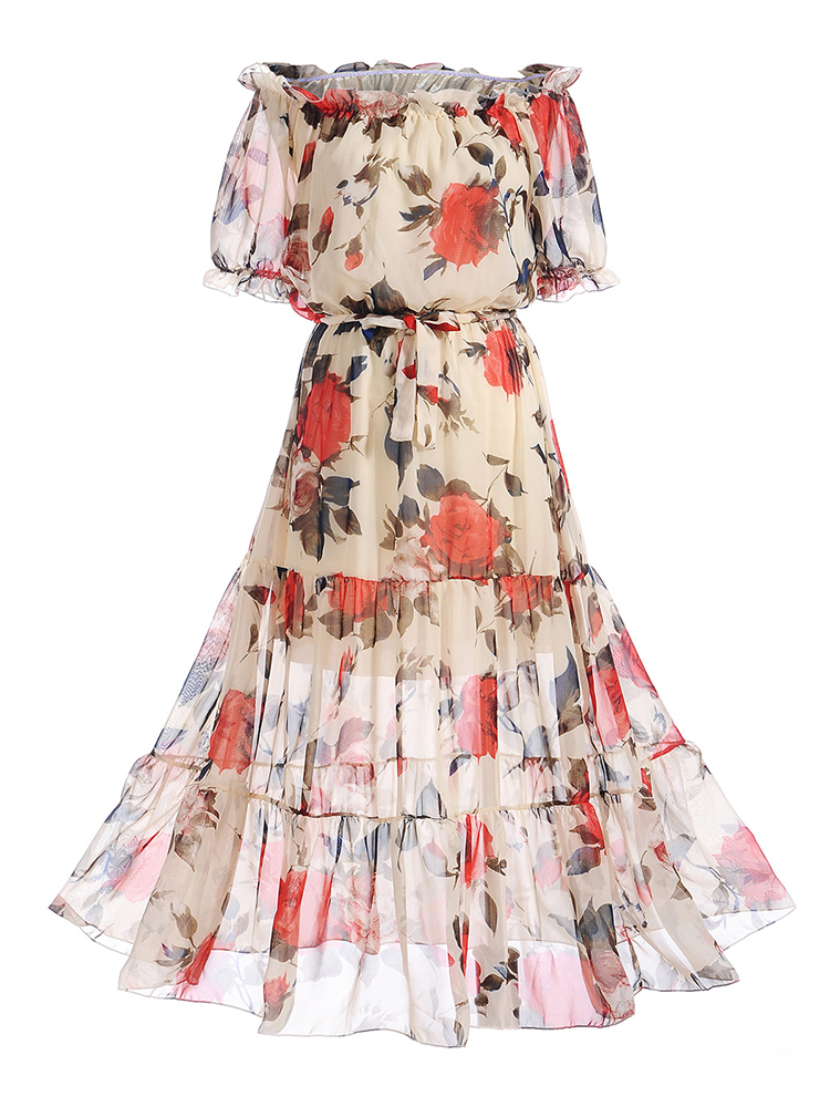 Sexy Off Shoulder Floral Print High Waist Short Sleeve Dresses