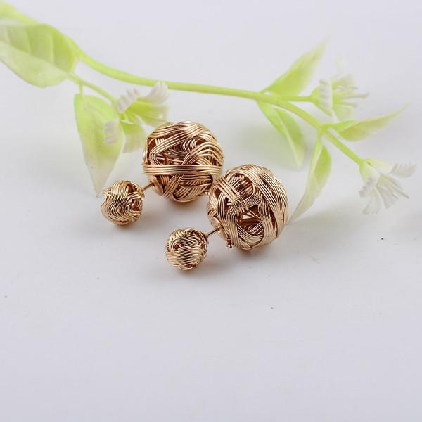 Hollow Ball Yarn Drawing Ear Stud Gold Plated Double Wear Earrings