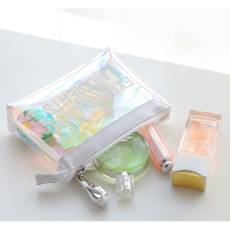Pink Transparent Cosmetic Bag Women Colorful Laser Clear Travel Makeup Bags Waterproof Clutch Thicken Wash Pouch