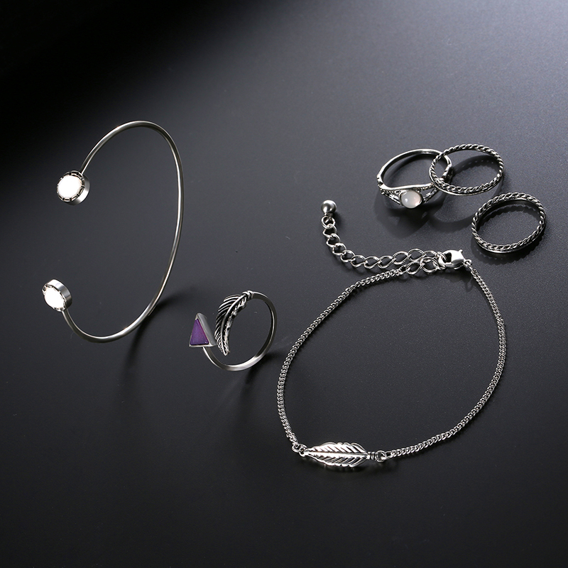 6 PCS of Arrow Rings Feather Chain Crystal Bracelets Jewelry Set