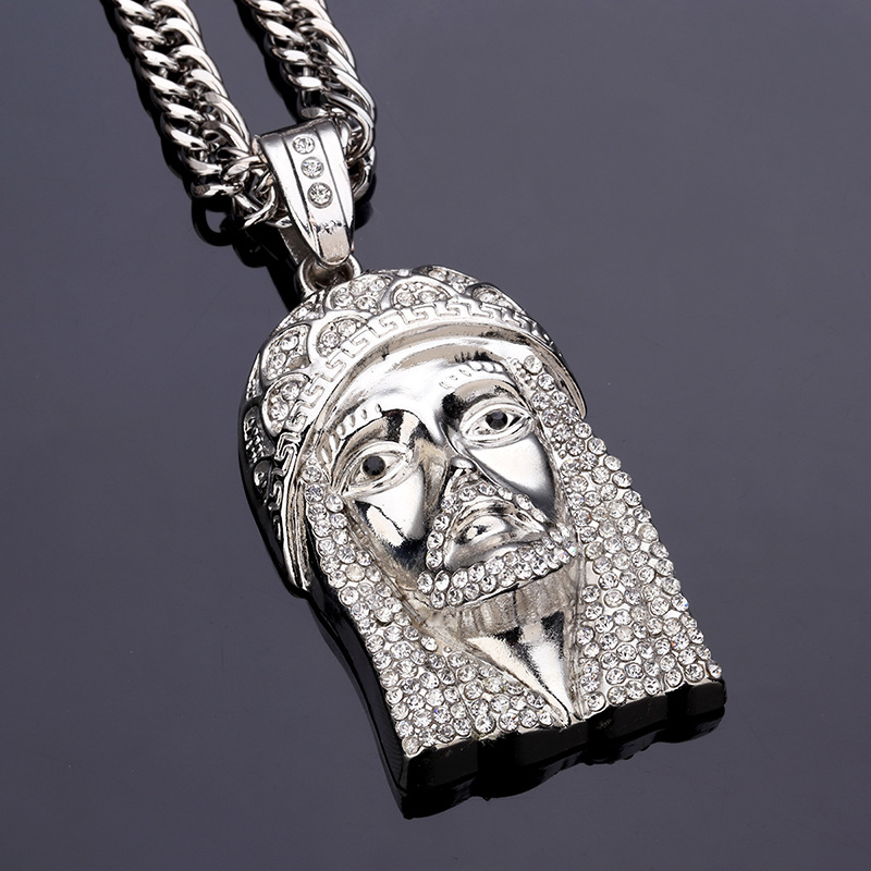 Men's Gold Silver Rhinestone Chain Hip Hop Jesus Zinc Alloy Necklace for Men