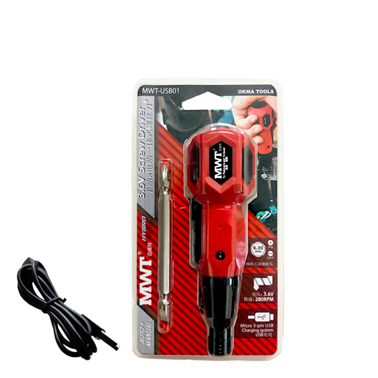 MWT Dual Use Manual Electric One-piece Screwdriver LED Light USB Charging Multifunctional Mini Cordless Screwdriver W/ Double Ended Bit