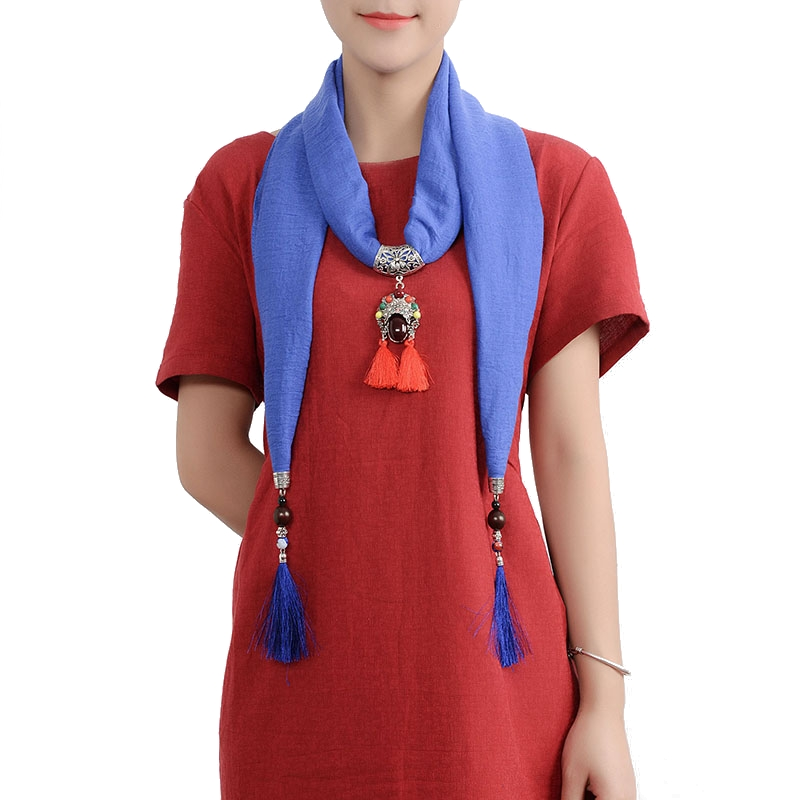 Ethnic Multifunction Women Necklace Tassel Pendant Vintage Cotton Scarf Clothing Accessories Gift