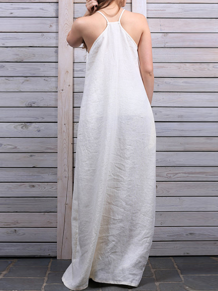 XS-4XL Sexy Women Pure Color Sleeveless Cotton Dress