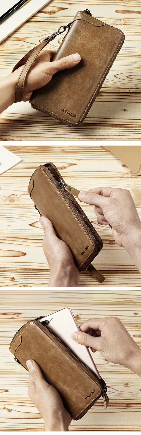 Men Genuine Leather Vintage Card Holder Wallet Phone Bag