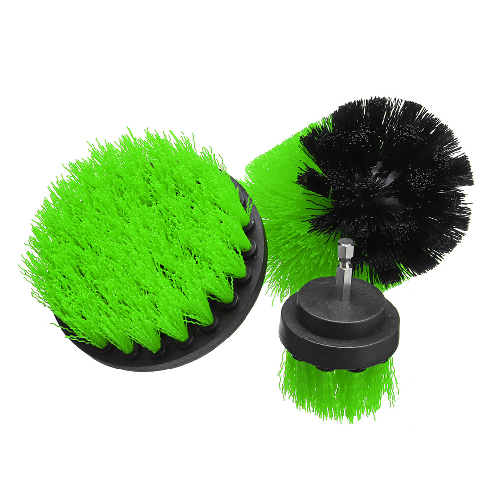 3Pcs 2+3.5+4 Inch White/Red/Green Electric Drill Cleaning Brush Tile Grout Power Scrubber Tub Brush