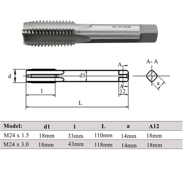 M24 Metric Tap M24x1.5/3.0 High Speed Steel Plug Tap Machine Screw Threaded Tap