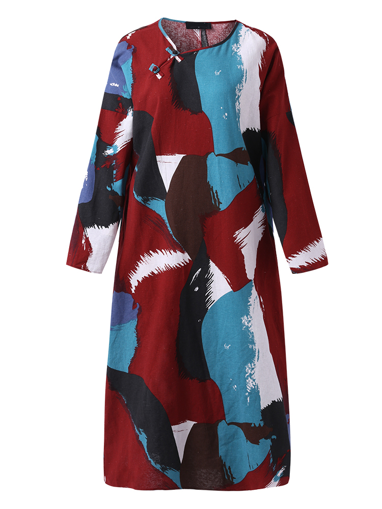 M-5XL Cotton Colorful Feathers Dress