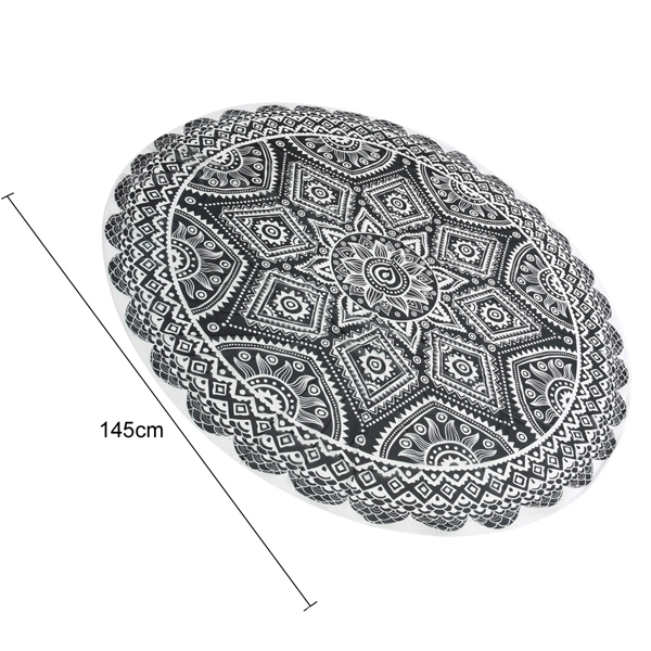 145cm Black Print Thin Chiffon Beach Yoga Towel Mandala Round Tablecloth Bed Sheet Tapestry