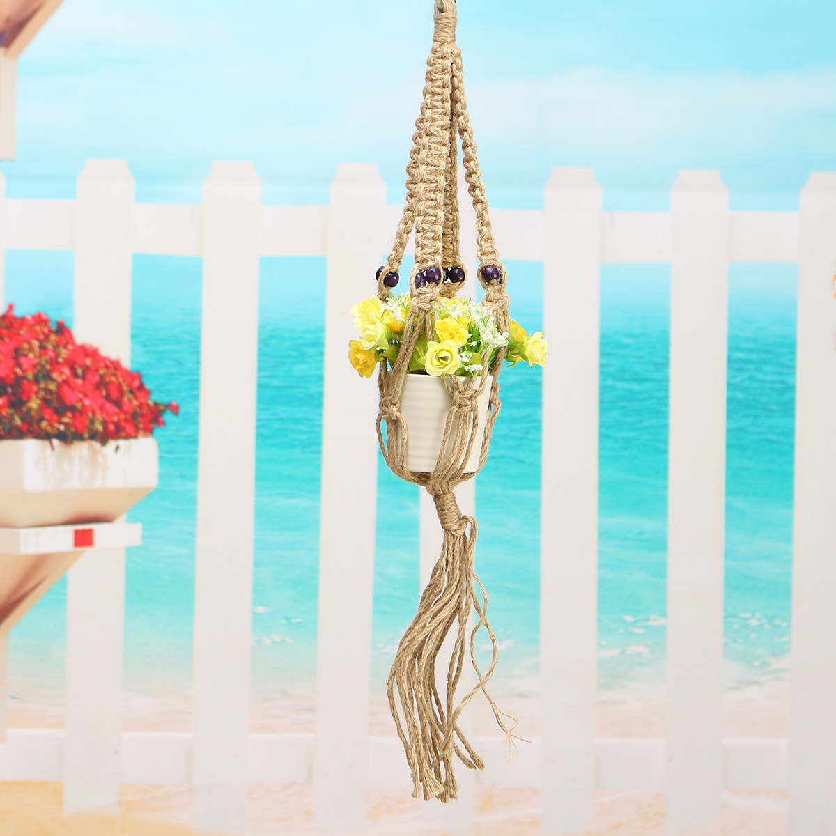 Patio Balcony Plant Hanger Macrame Jute Rope Hanging Flower Pot Basket Planter Holder