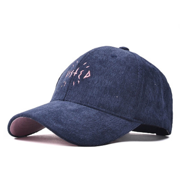 Women Letter Corduroy Embroidery Baseball Cap Men Adjustable Outdooors Sports Hip-hop Hat