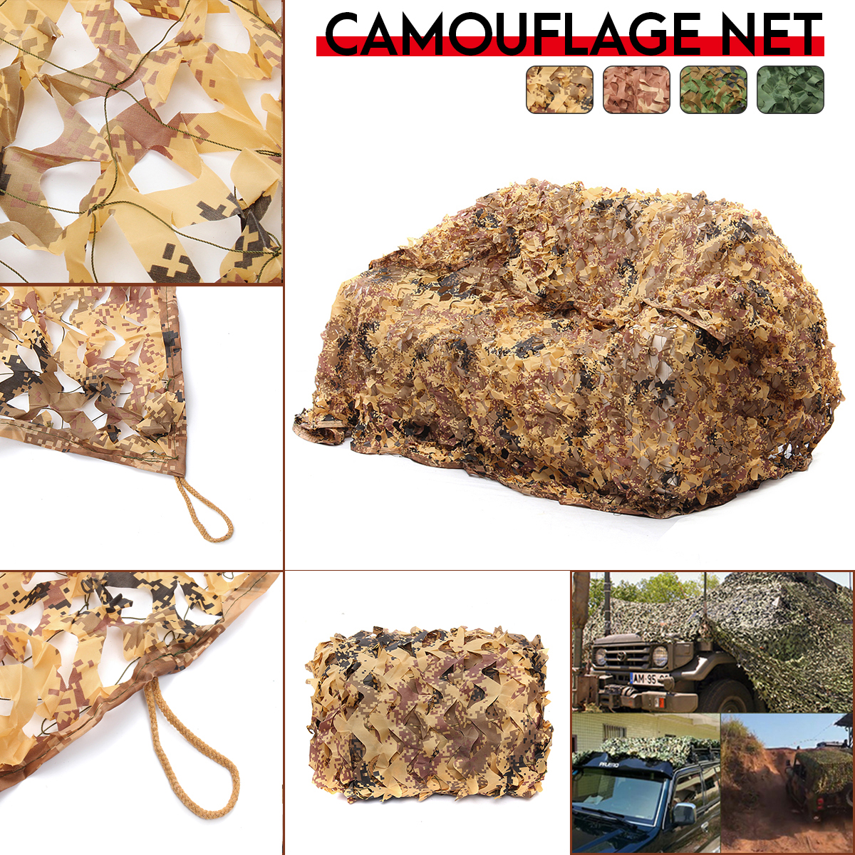 1.5mX4/5/6m Digital Desert Camo Netting Camouflage Net for Car Cover Camping Woodland Hunting