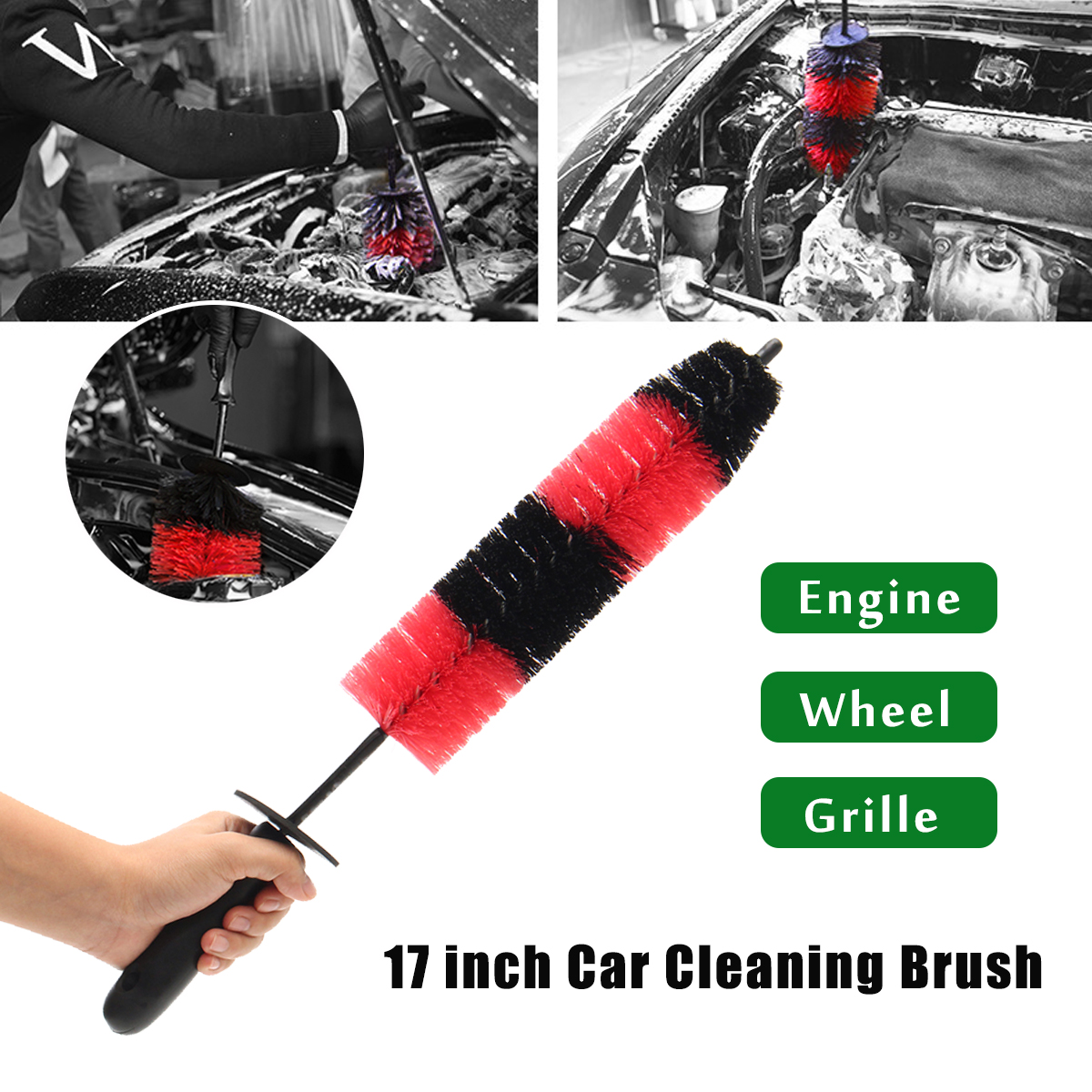 17 Inch Car Truck Motor Bike Wheel Engine Grille Wash Brush Tire Rim Cleaning Tool