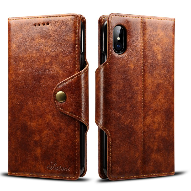 Vintage Leather Magnetic Buckle Flip Wallet Kickstand Case For iPhone X