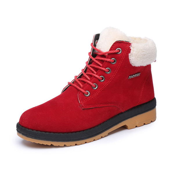 Artificial Suede Cotton Lining Lace Up Round Toe Warm Ankle Snow Boots