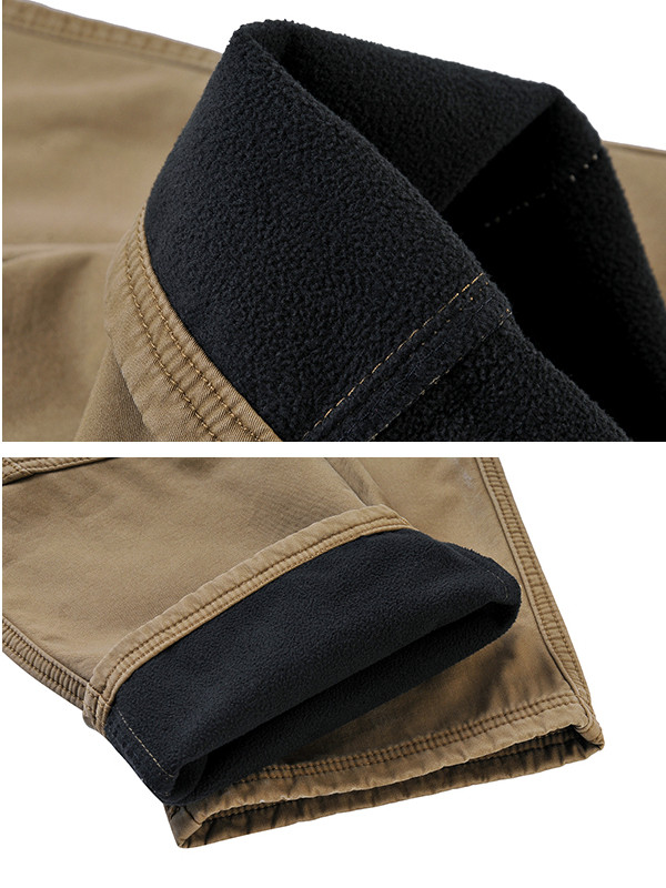 Mens Winter Thick Fleece Multi Pockets Cargo Pants