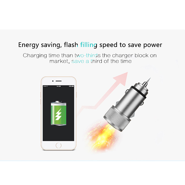 ZUOQI Metal Dual USB 5V 2.4A Quick Car Charger For iPhone 7S/6S/6S Plus/6 Plus/ Ipad