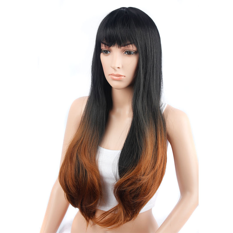 70cm Long Wavy Bangs Brown Gradient Color Wig