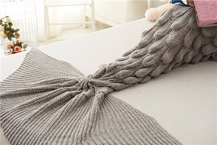 Mermaid Tail Blankets Yarn Knitted Handmade Crochet Mermaid Blanket Kids Throw Bed Wrap Super Soft Sleeping Bed