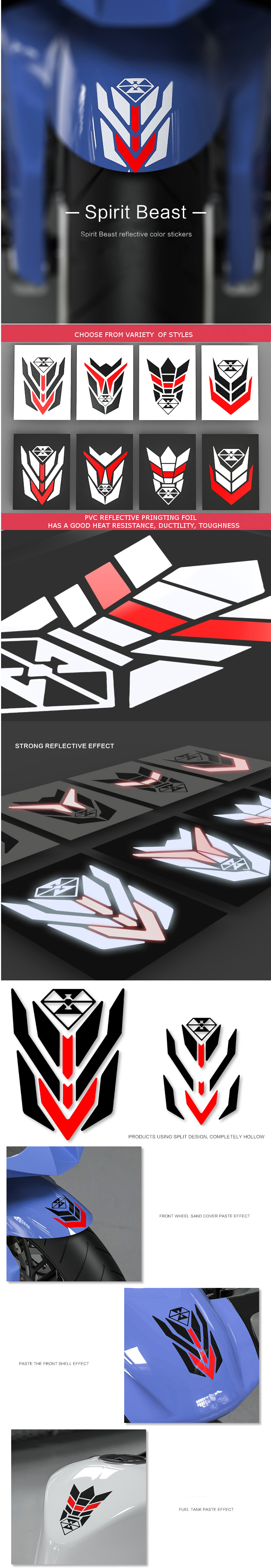 Reflective Motorcycle Decorative Sticker Scooter Bike Waterproof Car Styling Shell Repair