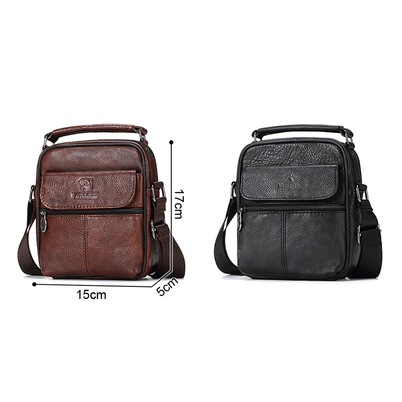 Men Genuine Leather Messenger Bag Shoulder Bags
