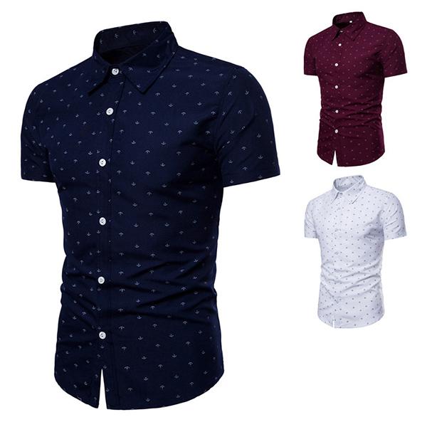 Image of Anchor&nbspPrinting&nbspKurzarm&nbspRevers&nbspButton-Up-Shirts&nbspfür Männer