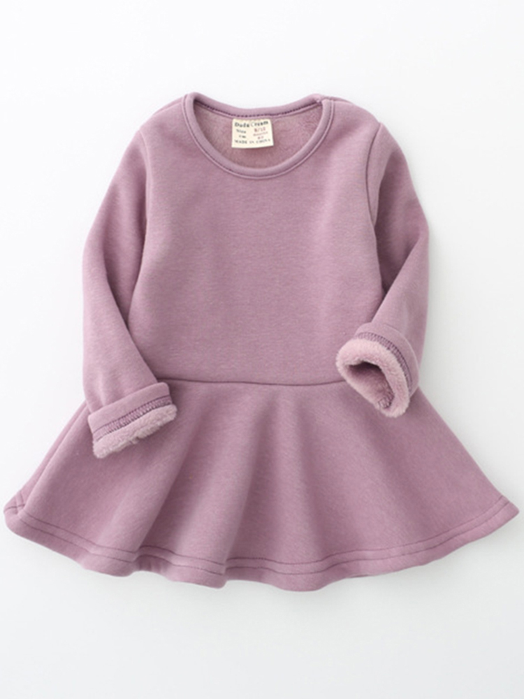 Girls Velvet Cotton Lotus Leaf Edge Long Sleeve Kids Dress
