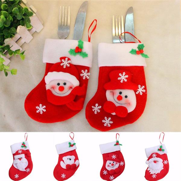 6Pcs Christmas Stocking Tableware Xmas Cutlery Knife Fork Holder Dinner Decor