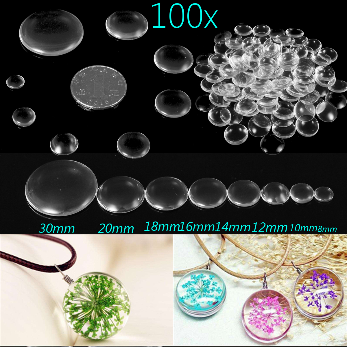 100Pcs Round Clear Glass Dome Cabochon Cameo Flat Back Crystal Magnify Base Cover DIY