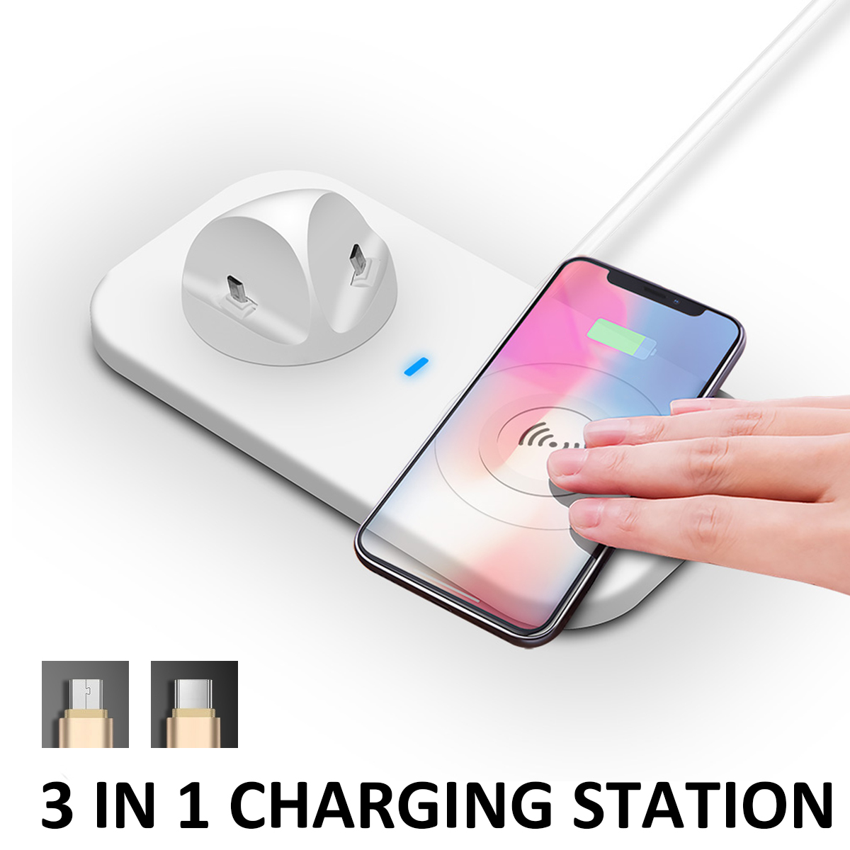 Qi Wireless Charger Station Phone Charging Dock Pad Holder USB Type-C