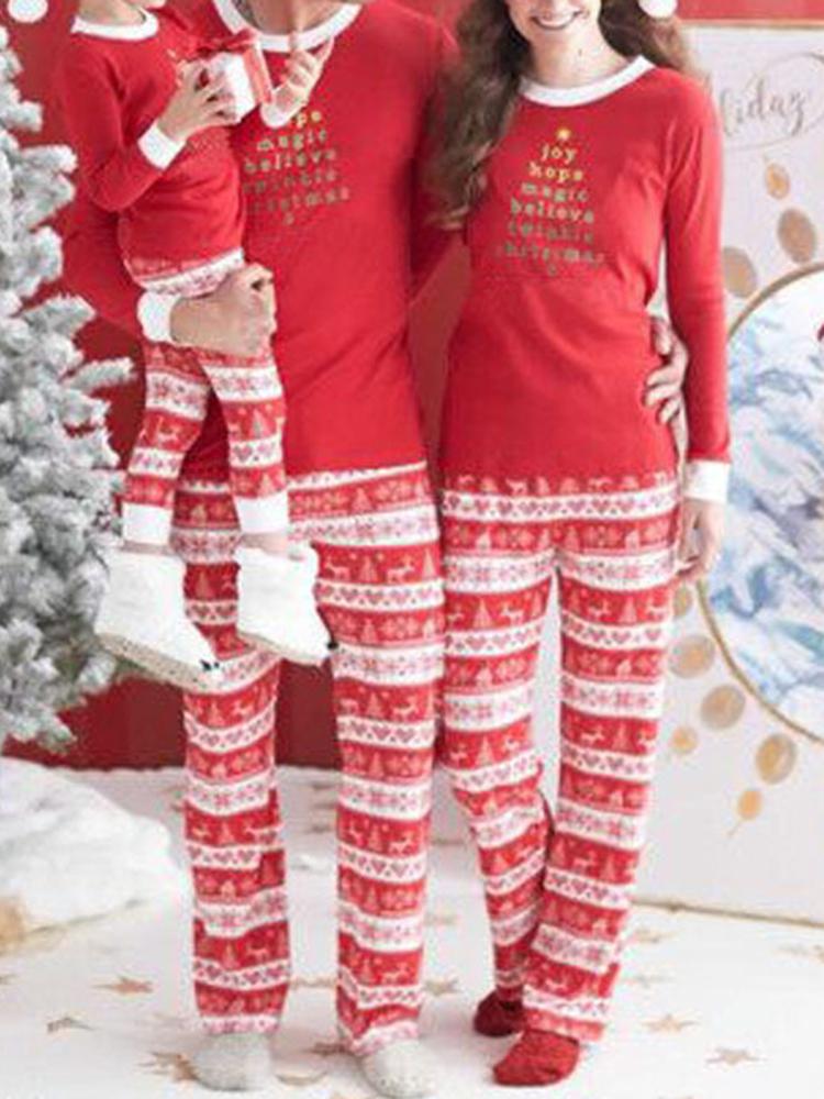 Image of Lässiges Weihnachts-Eltern-Kind-Langarm-Trainingsanzug-Set