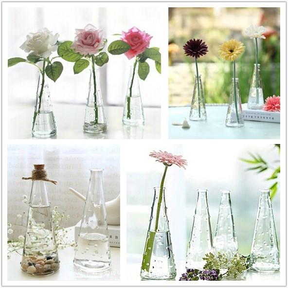 Clear Glass Vase With Wooden Bottle Cap Cutting Vase Flower Arrangement Home Decor Ornaments