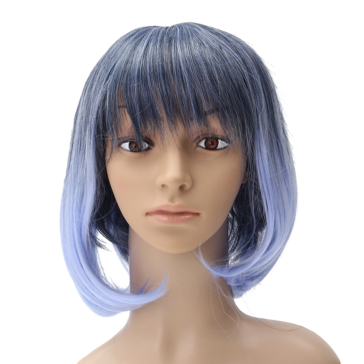 35-40cm Blue Gradient Cosplay Wig Woman Short Curly Hair Anime Natural Role Play Capless