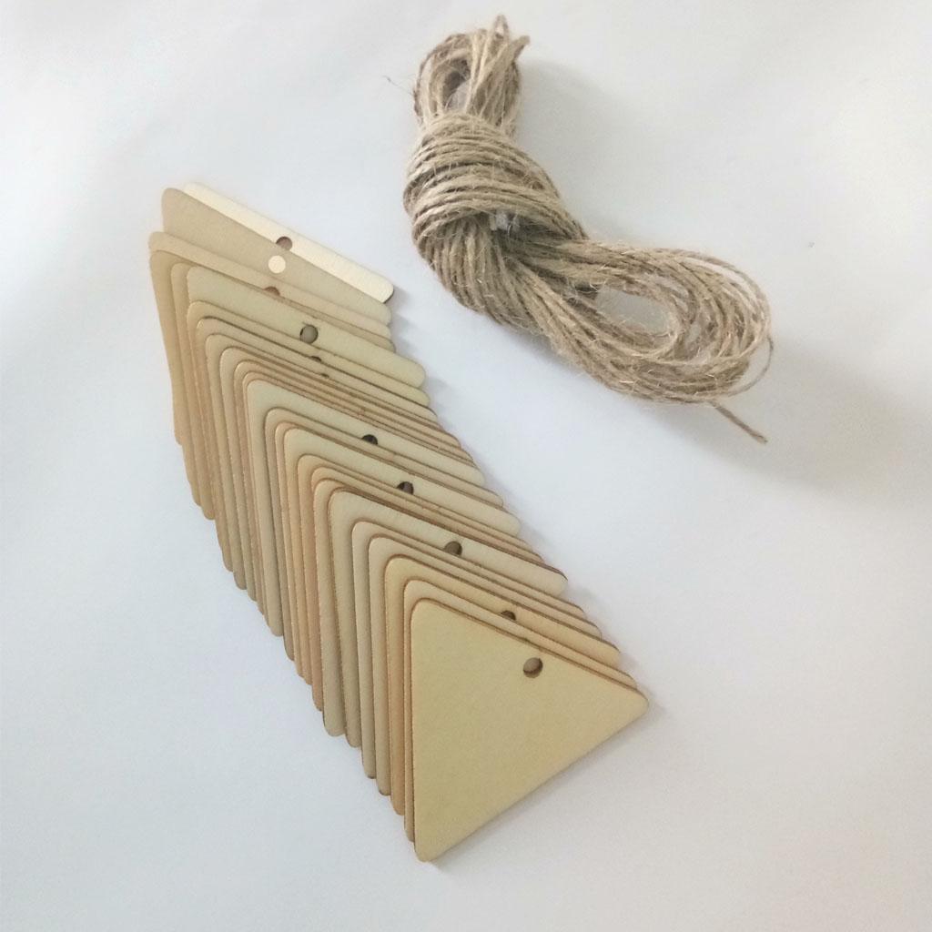 25Pcs Blank Triangle Wood Chips Sheet Hanging Tags Ornament Laser Engraving DIY Art Wedding Decor