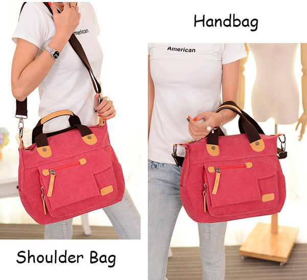 Women Canvas Casual Large Capacity Functional Multi Pocket Handbag Shoulder Bag Crossbody Bag