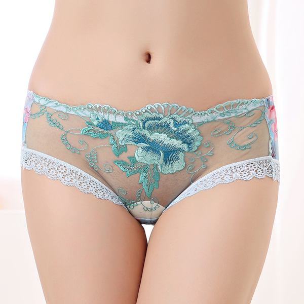 Mid Waist Embroidery Transparent Lace Underwear Panties