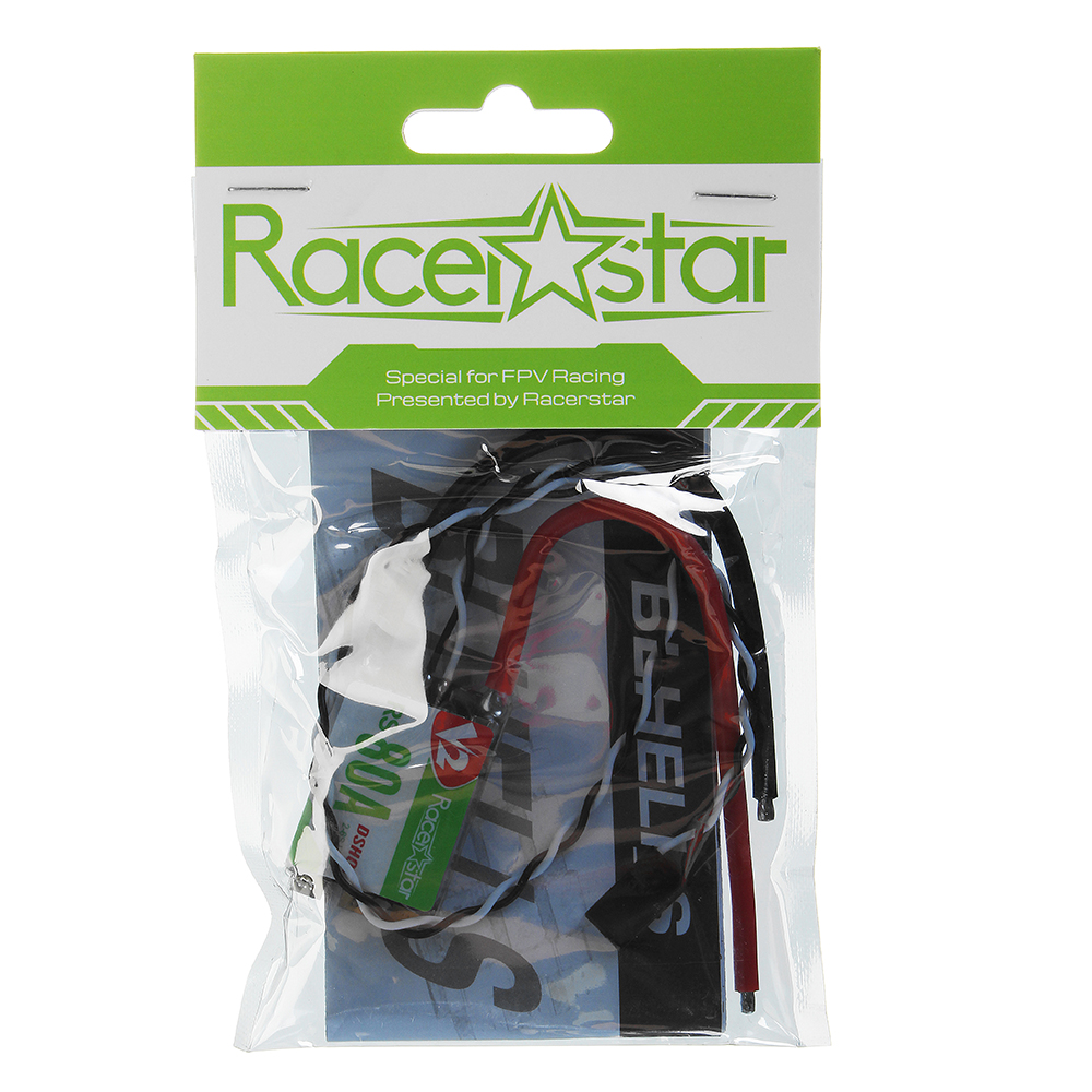 Racerstar RS80A V2 80A BLheli_S BB2 2-6S DShot600 Ready Brushless ESC Built-in LED RGB for RC Drone FPV Racing