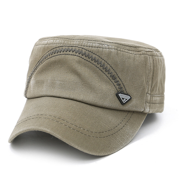 Mens Washed Cotton Solid Flat Top Cap Outdoor Military Sunshade Cap Hat  Adjustable d0d9f41b650