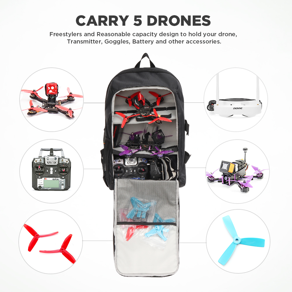 URUAV UR7 36L Backpack 40x55x22mm with Waterproof Transmitter Beam Port Bag DIY Room for RC Drone FPV Racing