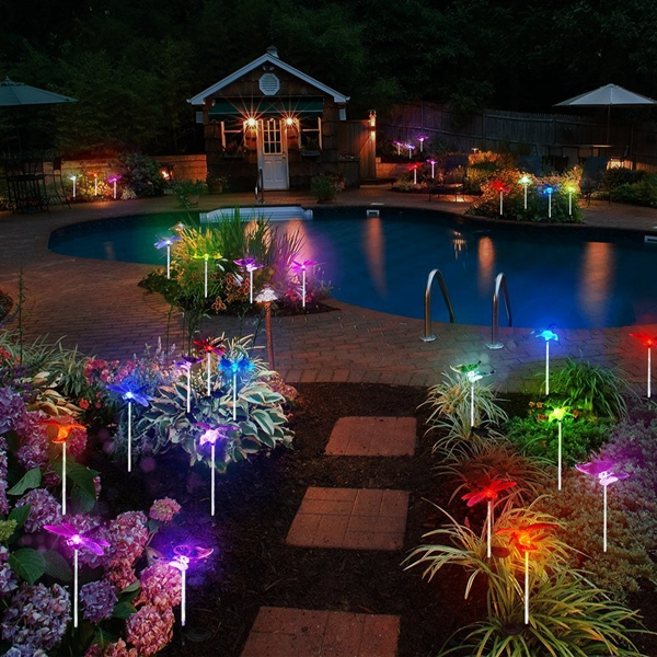 3pcs Solar Multi-color Butterfly Hummingbird Dragonfly LED Stake Light for Outdoor Garden
