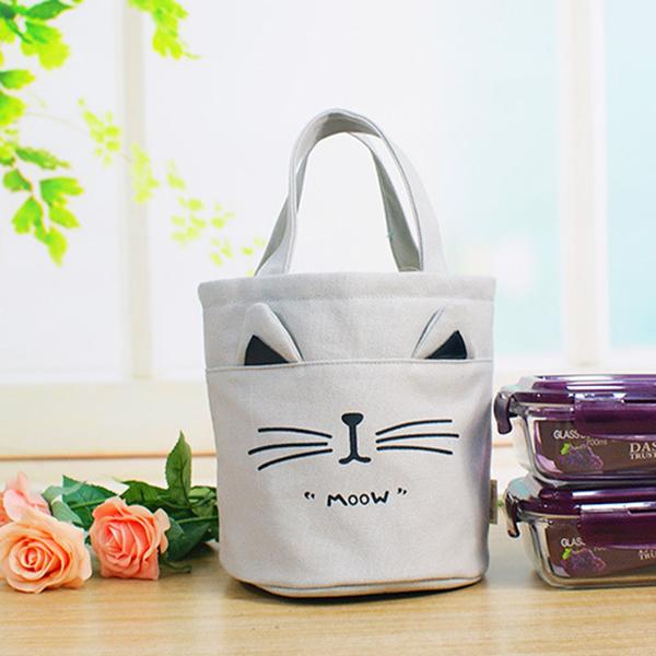 Women Canvas Print Cute Cat Handbag Bucket Storage Bag String Box Bag